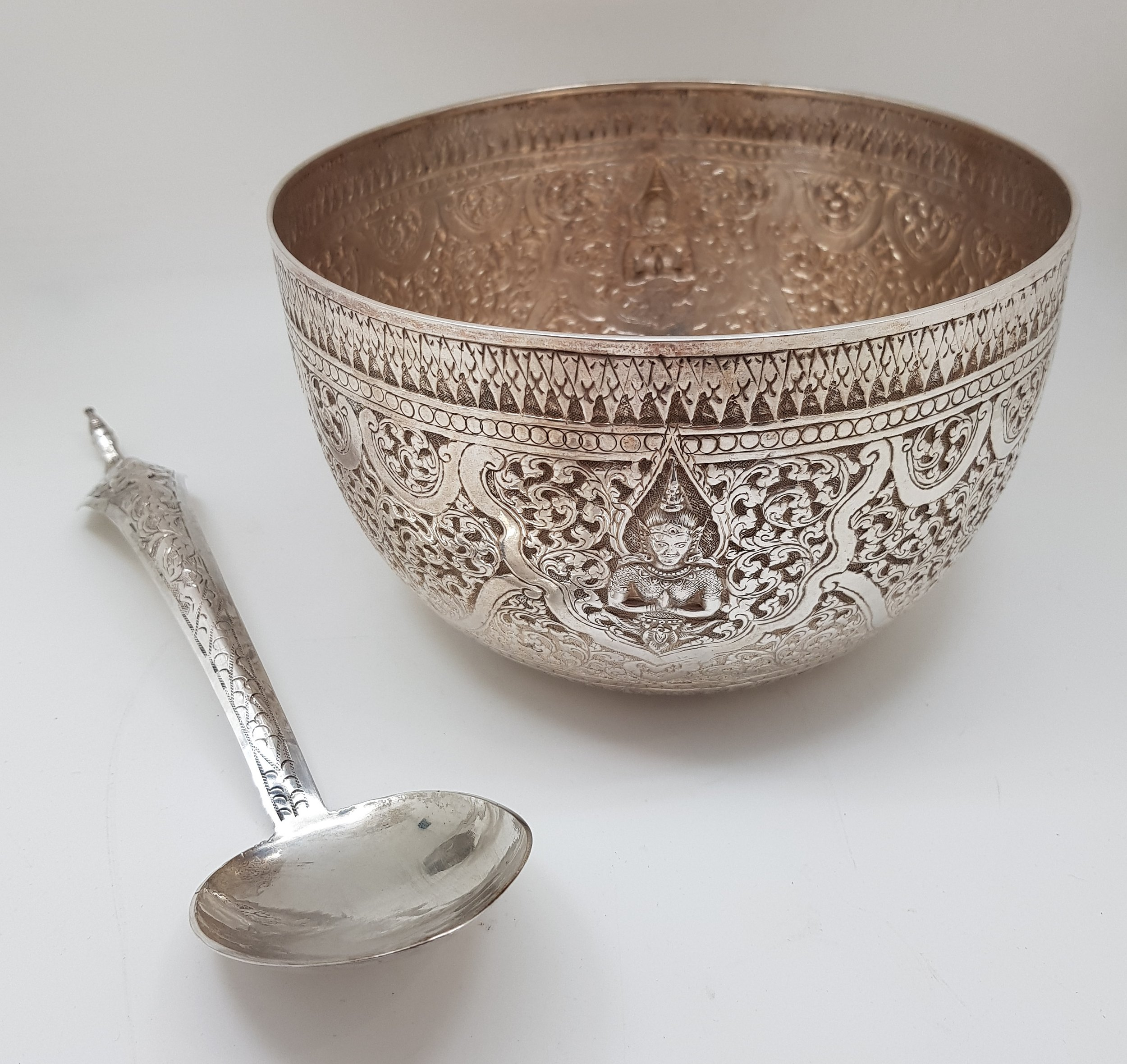 'Thai Sterling Silver Bowl Made by Chinese Silversmiths, Probably Bangkok'