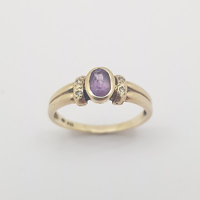 9ct Yellow Gold, Amethyst and Diamond Ring