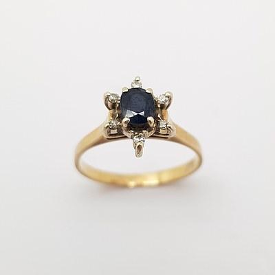 9ct Yellow Gold, Diamond and Sapphire Ring