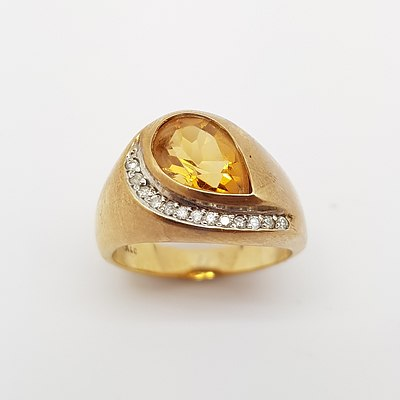 9ct Yellow Gold, Citrine and Diamond Ring made by Angus and Coote Jewellers