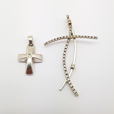 Two 9ct White Gold Cross Drop Pendants