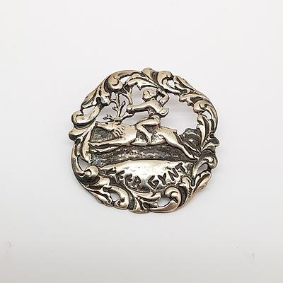 Danish Sterling Silver Peer Gynt Brooch - Depicting Peer Gynt riding Reindeer Circa 1950's