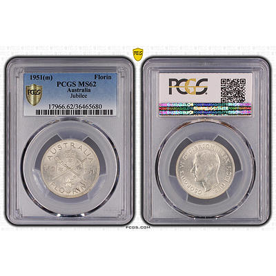 1951 Australian Centenary of Federation Commemorative Florin - Professionally Graded UNCIRCULATED