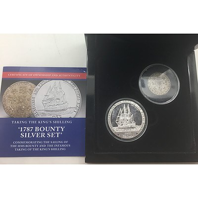 1787 HMS Bounty One Crown Silver Set - RRP $999 In original Display Box and presentation Case