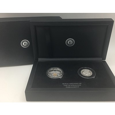 1927 Royal Opening of Parliament House Silver One Dollar, 1927 Silver Florin and Mint Condition 1927 Stamp Commemorative Set RRP $699