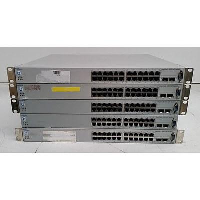 Nortel (BayStack 5510-24T) 24-Port Managed Gigabit Ethernet Switch - Lot of Five