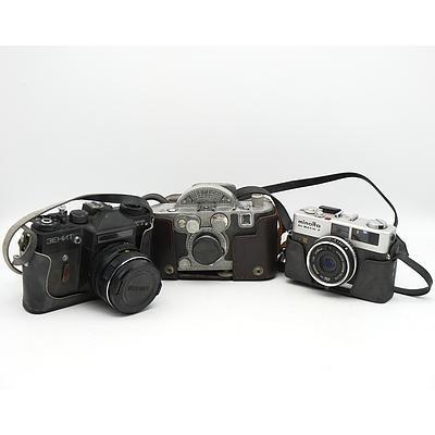 Three Portable Film Cameras Including Universal Mercury II and More
