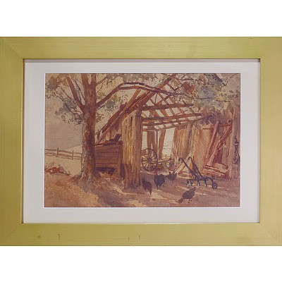 Albert Henry Fullwood (1863-1930) The Old Barn 1925, Watercolour