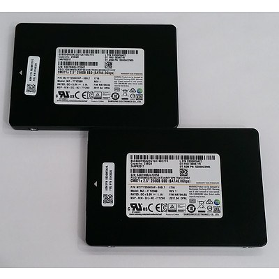 """Samsung (MZ-7TY2560) 2.5"""" 256GB SATA Solid State Drive - Lot of Two"""