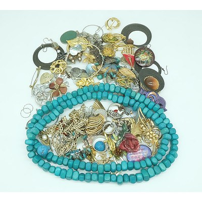 Large Group of Brooches, Pins, Necklaces, Earrings and More Including a Green Quartz Pendant