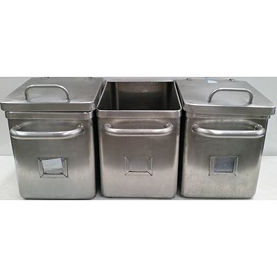 Stainless Steel Food Hoppers/Bins - Lot of Three