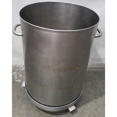 Stainless Steel 120 Litre Waste Drum With Stainless Steel Dolly
