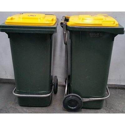 120L Sulo Two Wheel Mobile Garbage Bins with Lid Lifter - Lot of Two