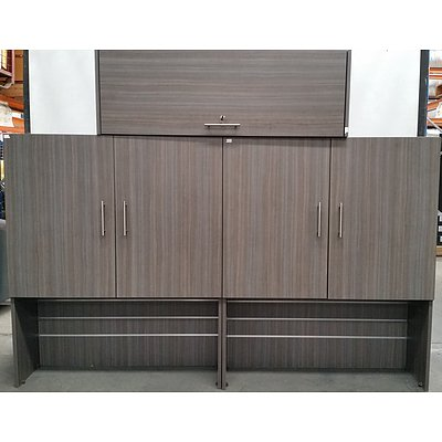 Grey Beech Veneer Desktop Hutches - Lot of Three