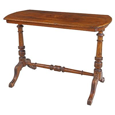 Victorian Walnut Loo Table with Marquetry Inlay Medallion of a Bird in Foliage, Circa 1880