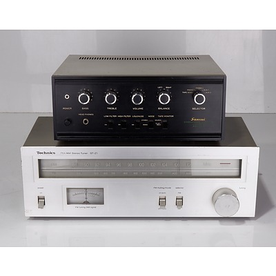 Technics ST-Z1 FM/AM Stereo Tuner and Sansui AU-222 Solid State Stereophonic Amplifier