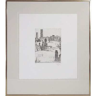 Jorg Schmeisser (1942-2012) San Gimignano Okolice 1981 Artist Proof Engraving