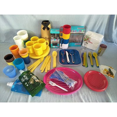 Assorted Picnicware including plates, cutlery, wine glasses, serviettes, plastic cups/mugs and drink bottles