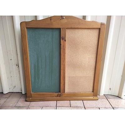 Corkboard/Chalkboard with solid pine frame