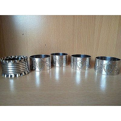 5 x silver plated napkin rings
