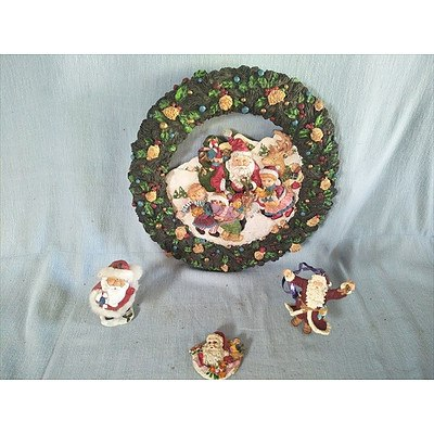 Christmas Wreath and 3 ornaments