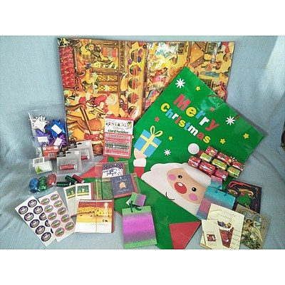 Assorted Christmas Cards, gift bags and wrapping accessories