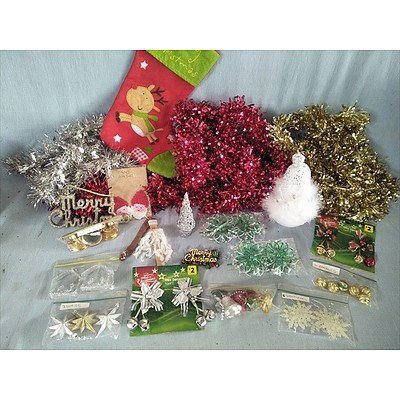 Assorted Christmas decorations and tinsel