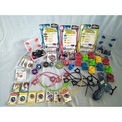 Assorted Beyblades toys and accessories