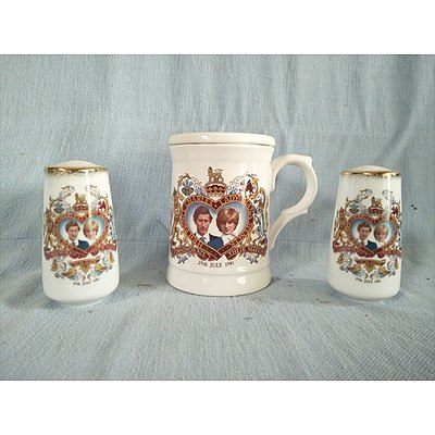 Marriage of HRH Prince Charles and Lady Diana 1981: Commemorative lidded mug and Salt & Pepper shakers