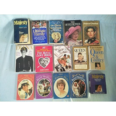 Books: Assorted British Royal family books and Twin Cassette edition of Majesty