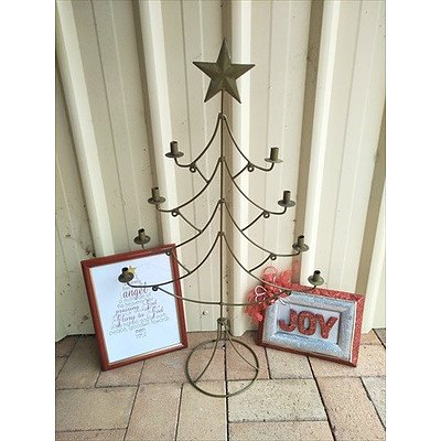 Christmas tree shaped candle holder and two Christmas wall hangings