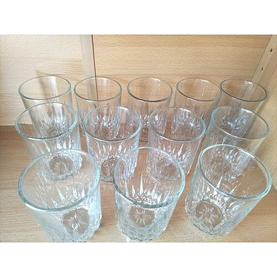 12 vintage water glasses