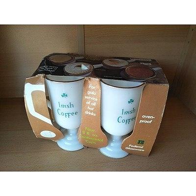 Set of 4 vintage milk glass Irish Coffee mugs by Federal Glassware