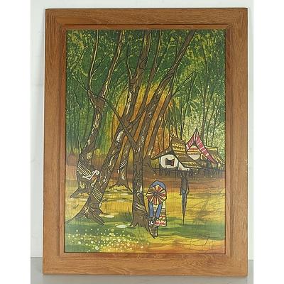 Kheng-Wah Yong (Malaysian 1945 - ) Batik Painting in Teak Frame, and Silk Map