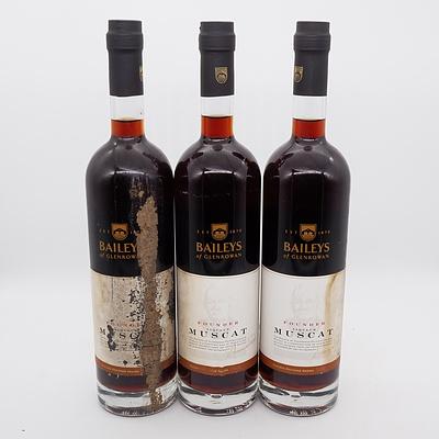 Three Bottles of Baileys of Glenrowan Founder Liqueur Muscat 750ml