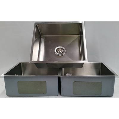 Stainless Steel Flush Mount Commercial Sinks - Lot of Three