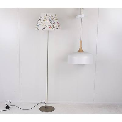 Modern Retro Style Turned Oak and White Painted Metal Pendant Light Fitting and Ikea Lamp