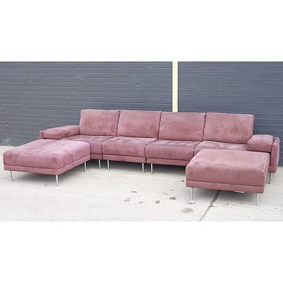 Large Brown Fabric Upholstered Natuzzi 4-Seater Detachable Lounge