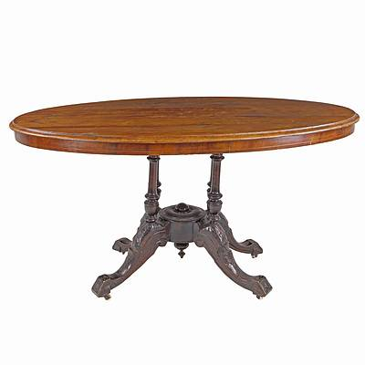 Late Victorian Walnut Tilt Top Loo Table with Inlaid Top Circa 1880
