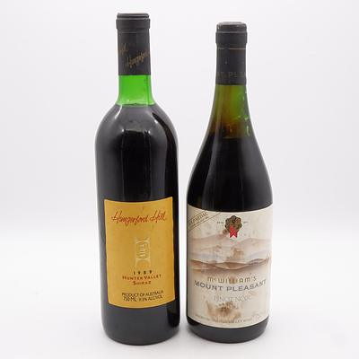 McWilliam's Mount Pleasant 1983 Pinot Noir 750mL and Hungerford Hill 1989 Hunter Valley Shiraz 750mL