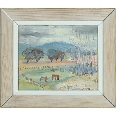 Moya Dyring (1908-1967) Grazing Horses Oil on Board