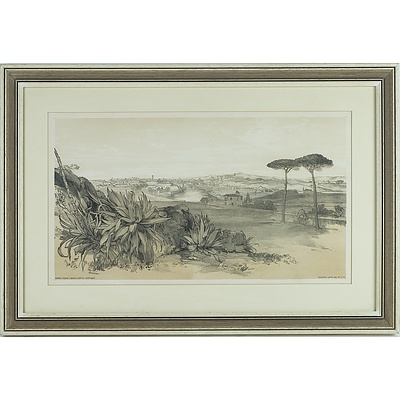 Two Edward Leir Lithographs of Sanbuci and Rome From Above Porta Portese