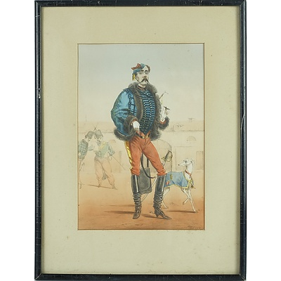 Said Draner (1833-1926) France 1864 Officer of the Hussards, Hand Coloured Lithograph