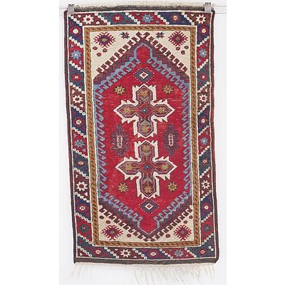 Vintage Turkish Kazak Hand Knotted Wool Pile Rug
