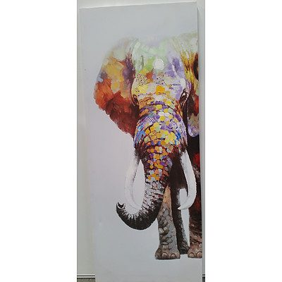Abstract Elephant Mixed Media Stretched Canvas Print