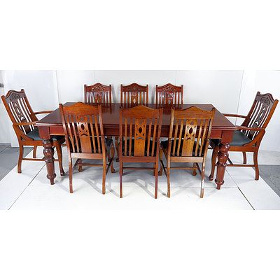 Sydney Cove Collection Eight Person Solid Cedar Dining Suite Late 20th Century
