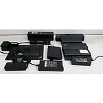 Box of Assorted Laptop Docking Stations & Power Supplies