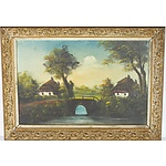 Two Riverside Farm Oil on Canvas Paintings Signed Geers
