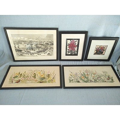 Collection Of Framed Pictures (Prints & Embroidery) (Qty: 5)
