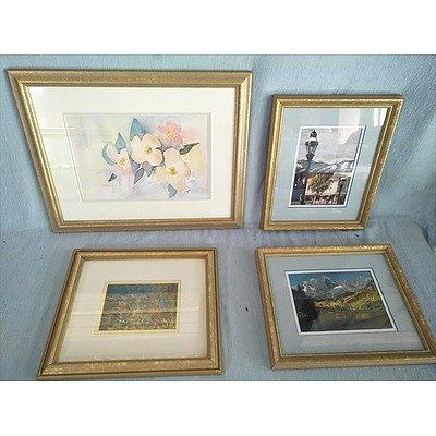 4 Framed Pictures In Gold Coloured Frames